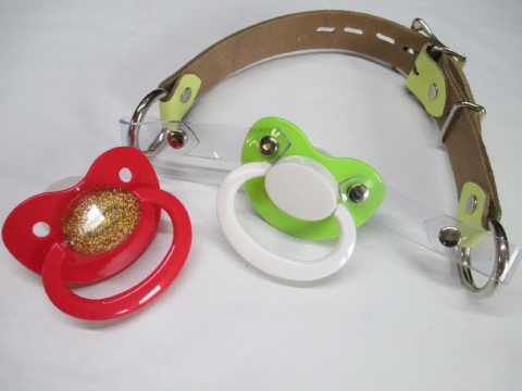 Sale - Yellow Leather Pacigag with Green/White paci, and Separate Red/Gold glitter Paci  (EK43)
